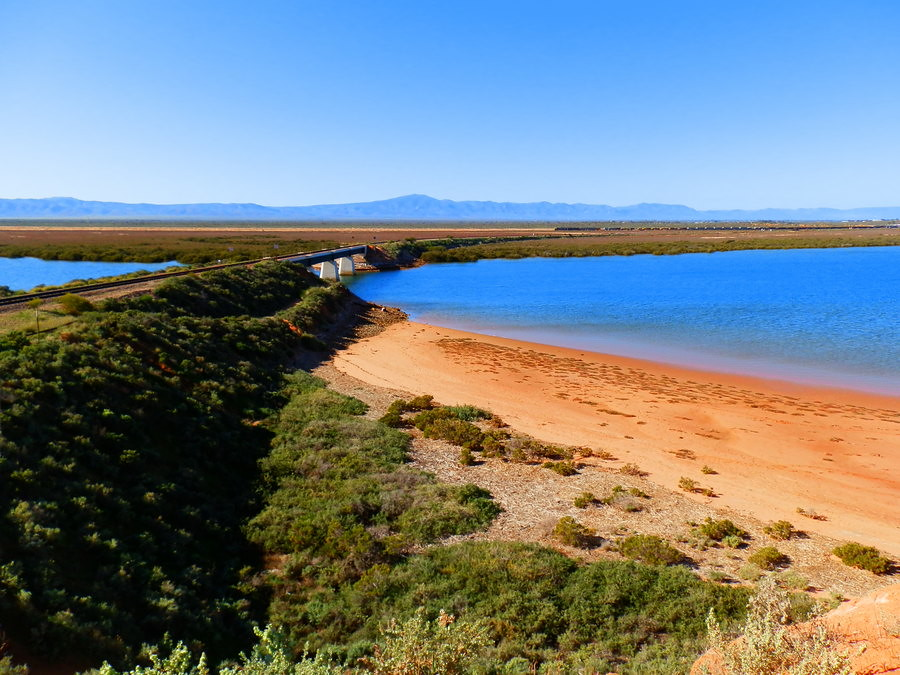 Spencer Gulf, Railway Bridge, Flinders Ranges from Red Cliff Walk