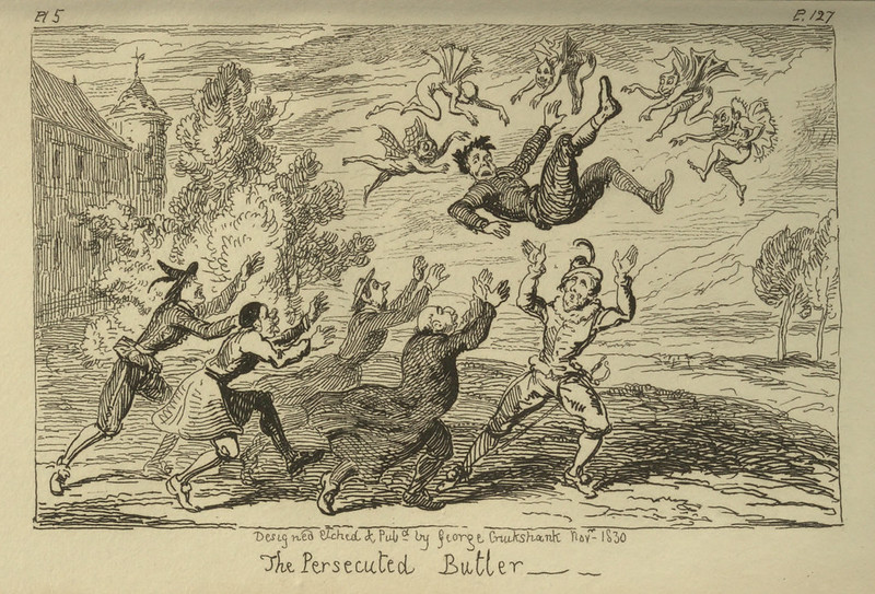 "George Cruikshank - ""The Persecuted Butler"" Illustration from ""Letters On Demonology And Witchcraft"" by Walter Scott, 1830"
