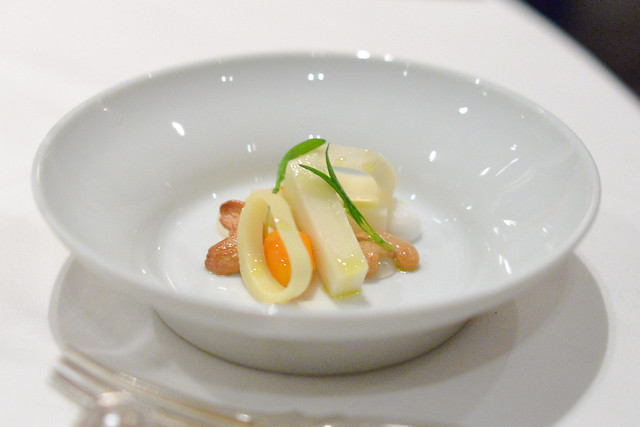 HAWAIIAN HEARTS OF PEACH PALM Garden Carrots, Coconut Puree, Toasted Cashews and Cilantro