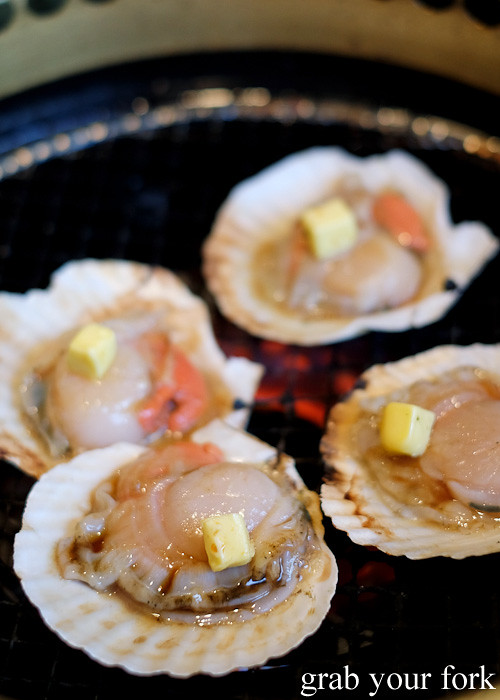 Scallops with butter at Gyakaku Yakiniku in Osaka, Japan