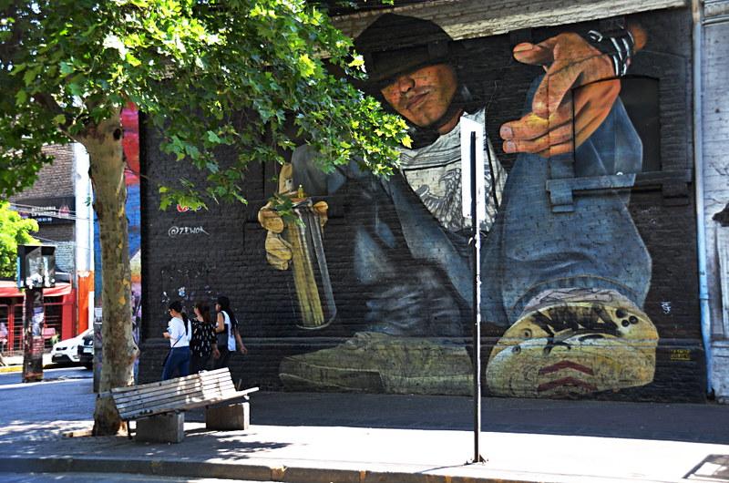 Street art, Pio Nono, Santiago, Chile