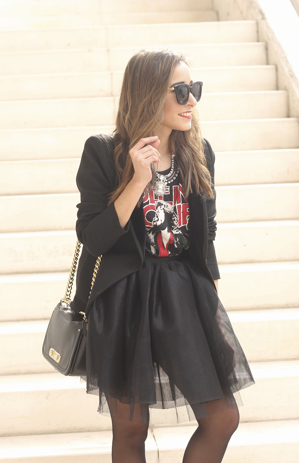 Tulle black skirt blazer maje heels coach bag necklace uterqüe madrid fashion week street style fashion outfit08