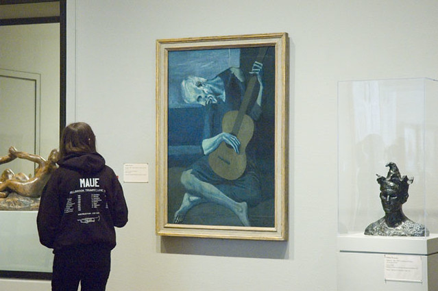 picassos old guitarist essay The old guitarist was created by pablo picasso in 1903 while he was living in  spain during what would be later referred to as his blue period,.