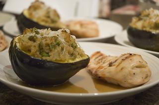 prosciutto stuffed chicken, bulgur risotto in acorn squash ...