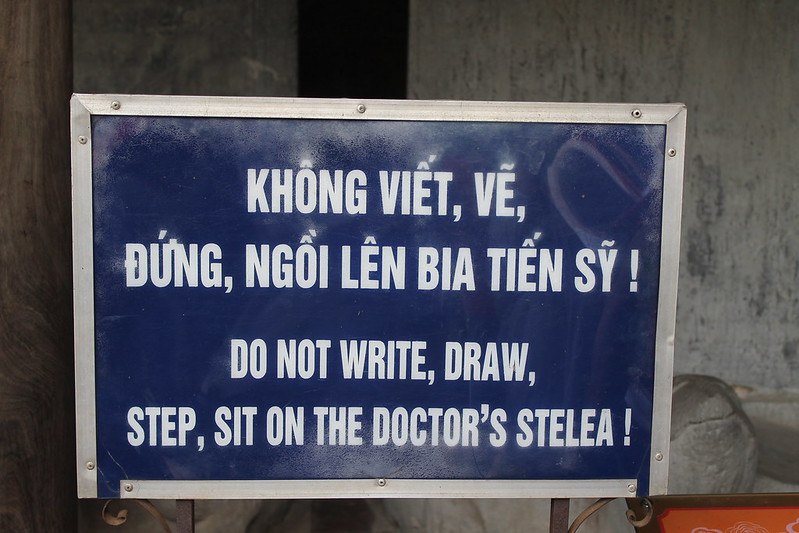 Do not write, draw, step, sit on the doctor's stelae