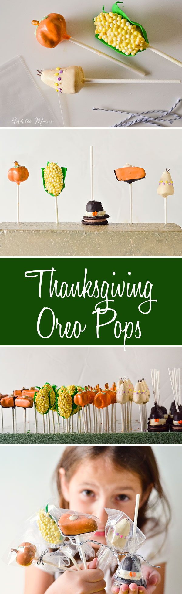 five different Thanksgiving style OREO cookie pops with full tutorial