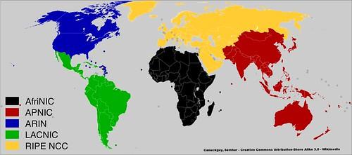 Regional Internet Registries world map