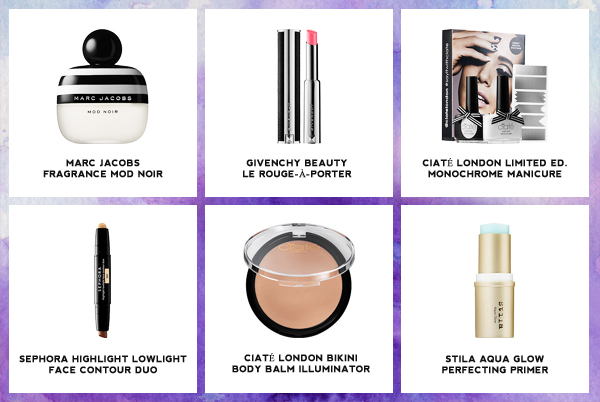 Marc Jacobs Fragrance Mod Noir, Givenchy Le Rouge-À-Porter, Ciaté London Monochrome Manicure, Sephora Collection Highlight Lowlight Face Contour Duo, Ciaté London Bikini Body Balm Illuminator and Stila Aqua Glow Perfecting Primer