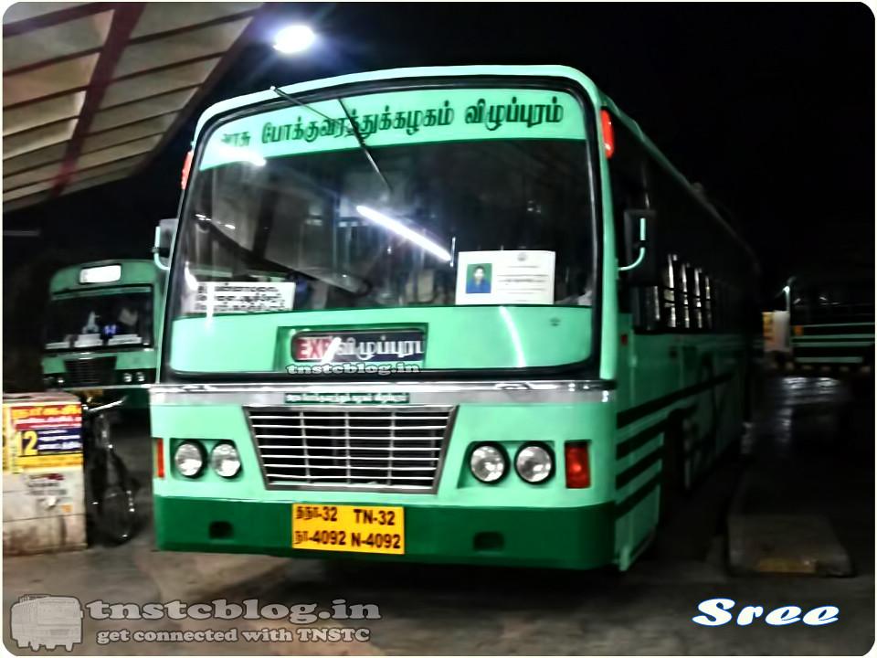 TN-32N-4092 of Villupuram 1 Depot Route Villupuram - Madurai via Ulundurpettai, Perambalur, Trichy.