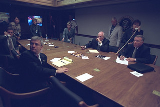 Vice President Cheney with Senior Staff in the President's Emergency Operations Center (PEOC) | by The U.S. National Archives