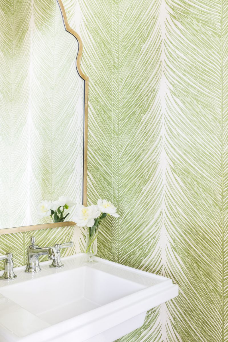 Green Feather Wallpaper in Bathroom Greenery Pantone's 2017 Color of the Year