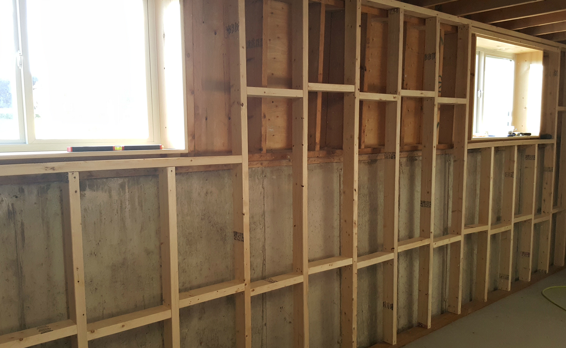 Insulating Basement Block Walls : Turtles and tails basement wall framing insulating