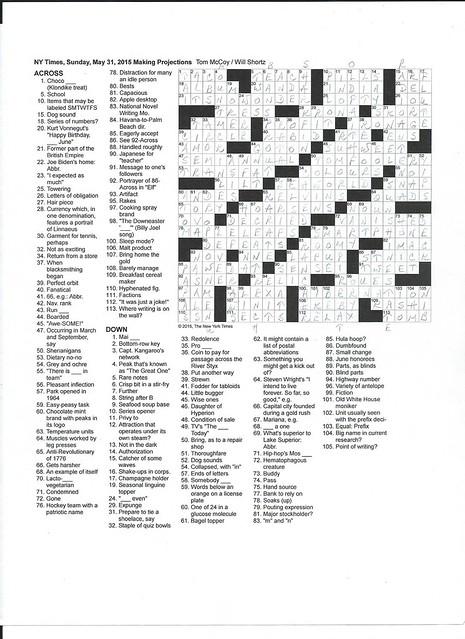 NYT Sunday Puzzle - May 31, 2015