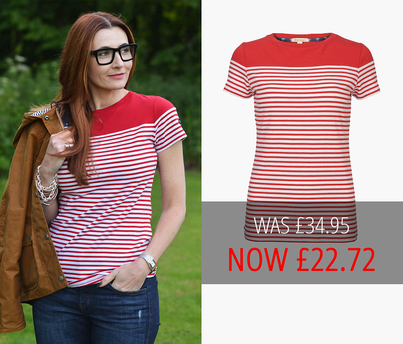 Summer sales | Barbour red and white striped Teesport top