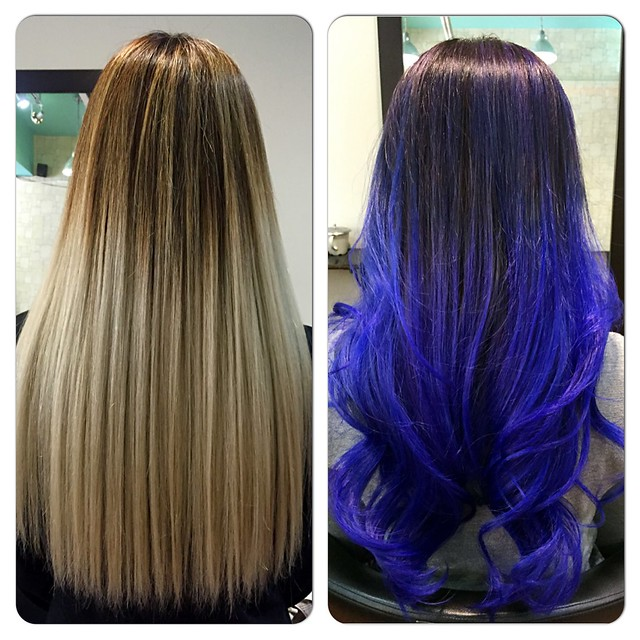 Before and after blue hair