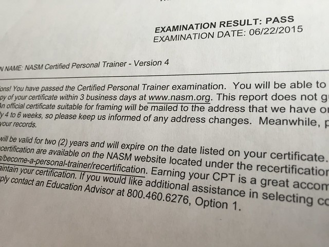 Taking (and PASSING!) the NASM Certified Personal Trainer Exam