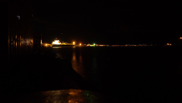 Ship at night in Dunedin