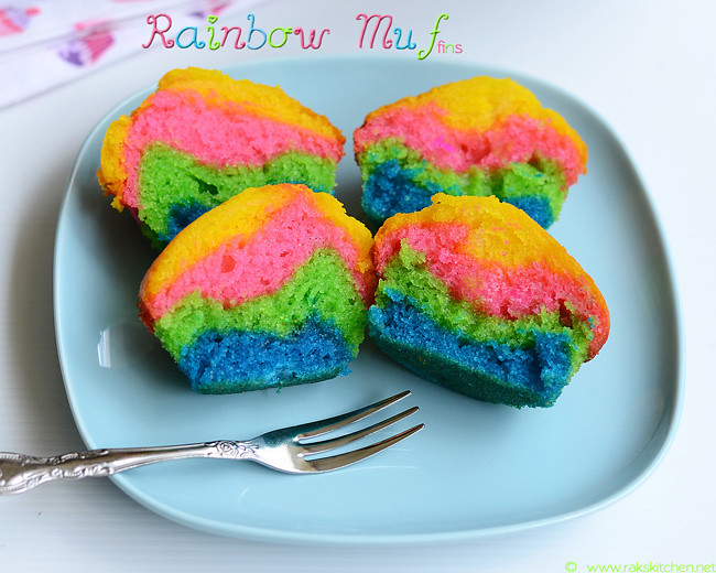 eggless rainbow muffin recipe 1