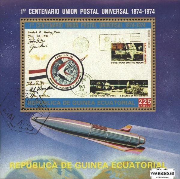 Známky Rovníková Guinea Vesmír, razítkovaný hárček
