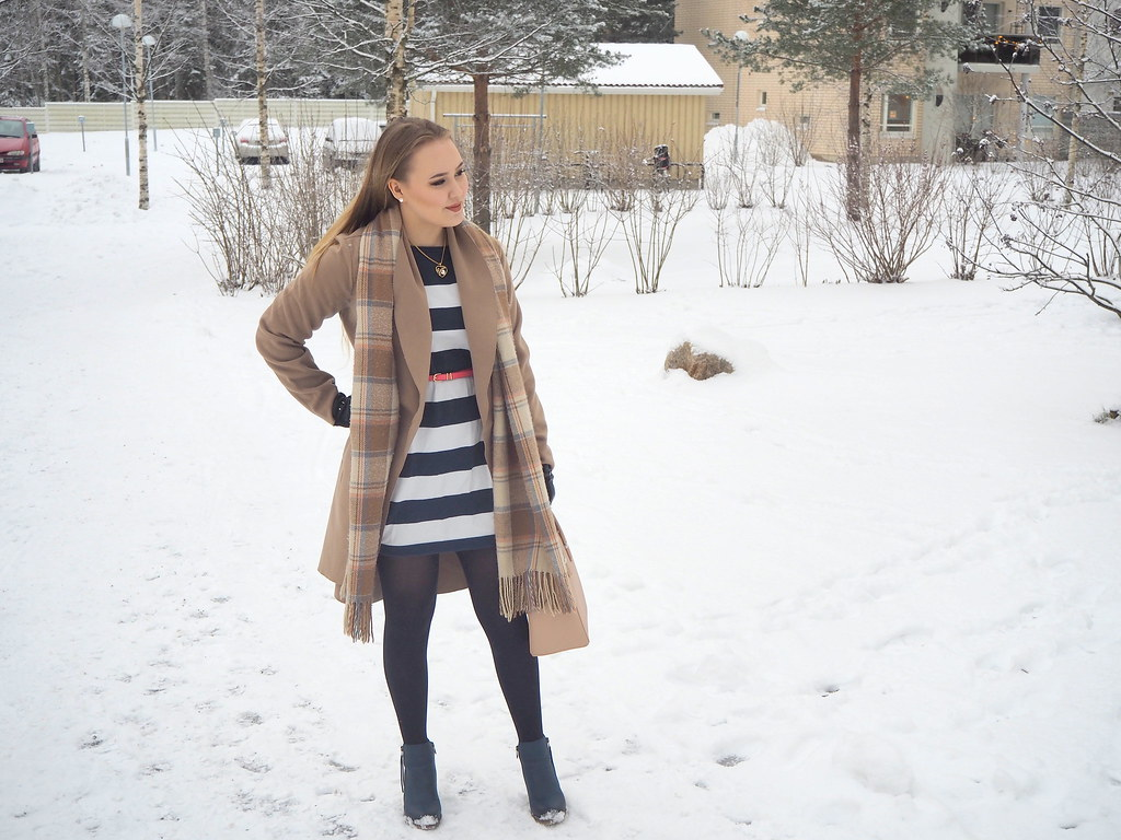 camel jacket stripe dress