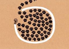 クラフト紙30_ペンキで円を描く白プレーンと円に入る黒プレーン