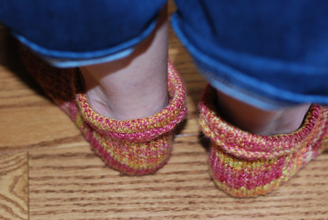 Back view of handspun handknit Corriedale wool Pierogi Slipper Socks by irieknit