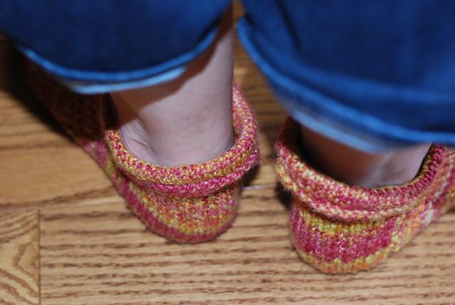 Back view of handspun handknit Corriedale wool Pierogi Slipper Socks by irieknit