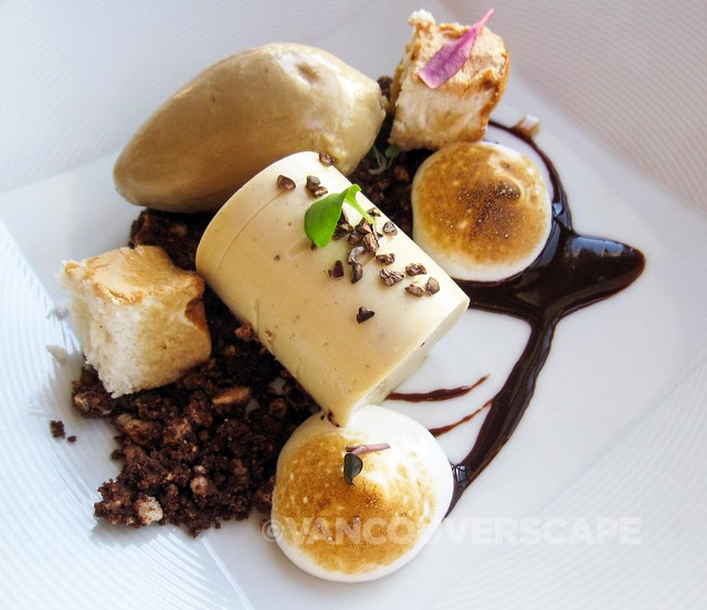 Deconstructed tiramisu with espresso ice cream
