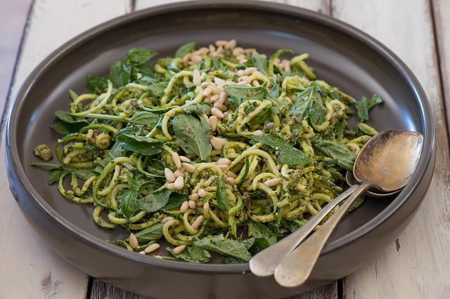 Zucchini 'Noodle' & Pesto Salad