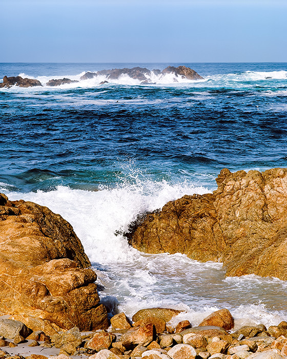 © 2016. The Restless Sea on 17-Mile Drive in Monterey County, California. Monday, Oct. 31, 2016. Ektar +2, Pentax 6x7.