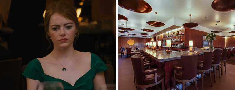 restaurant location with Emma Stone