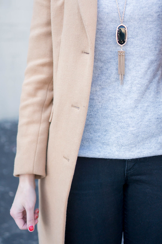 gray turtleneck + camel tan winter coat + black jeans + leopard print coat; casual neutral winter outfit | Style On Target blog
