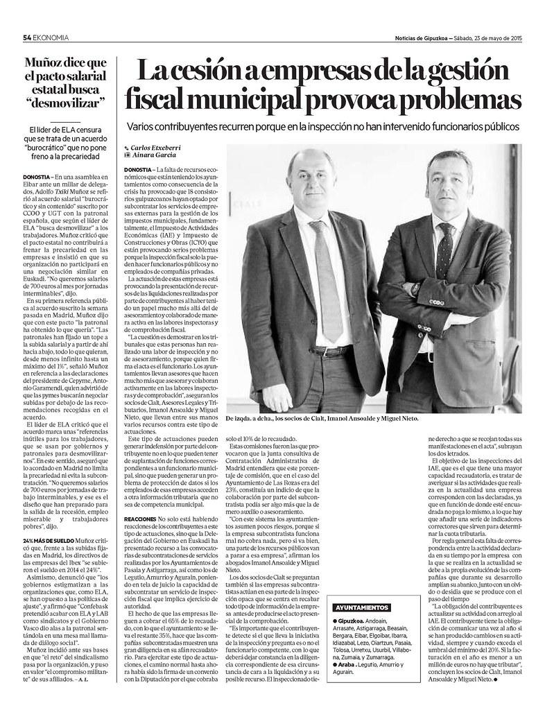 Imanol Ansoalde y Miguel Nieto en la revista Ekonomia