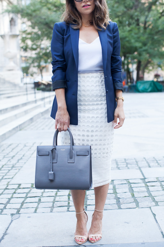 corporate fashion classic blazer citizens mark sac de jour saint laurent nordstrom white eyelet skirt nude heels perfect work bag what to wear to work work wear blazer corporate blogger professional blogger lifestyle blogger workwear 9 to 5 looks zara nude heels j.crew cami parda sunglasses corporate catwalk