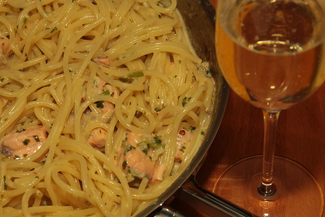 Spaghetti met zalm...
