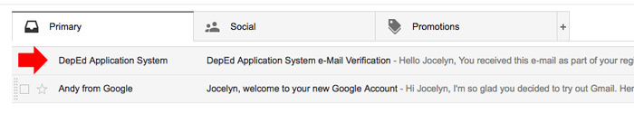 Email verification DepEd Online Application