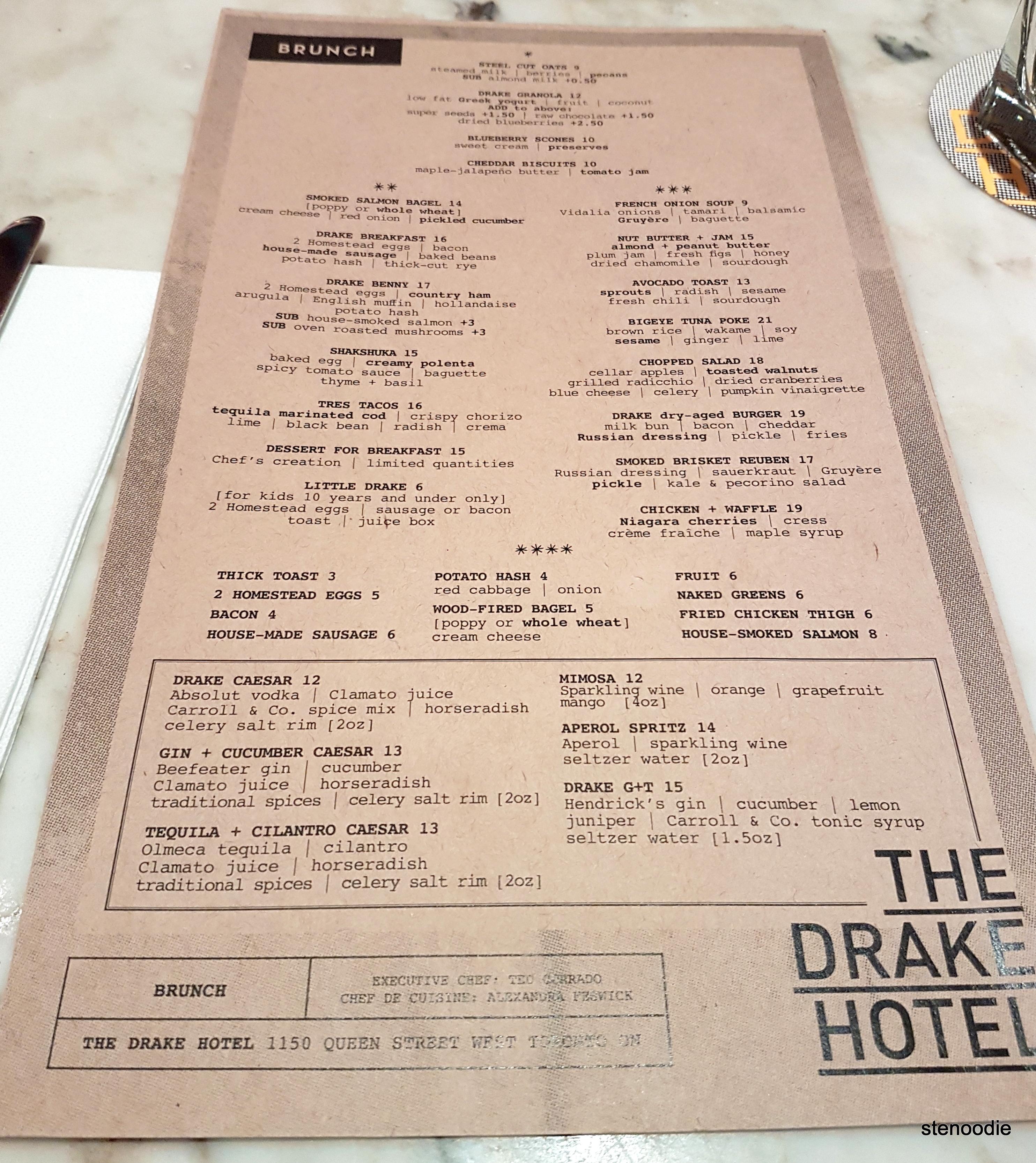 The Drake Hotel weekend brunch menu