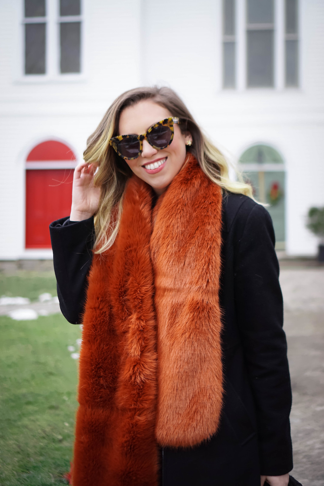 Rust Colored Faux Fur Scarf | Winter Outfit | Currently Obsessed with Faux Fur Scarves