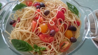 Julia's spaghetti with tomatoes, basil and olives - Jamie Oliver's Summer Spaghetti recipe