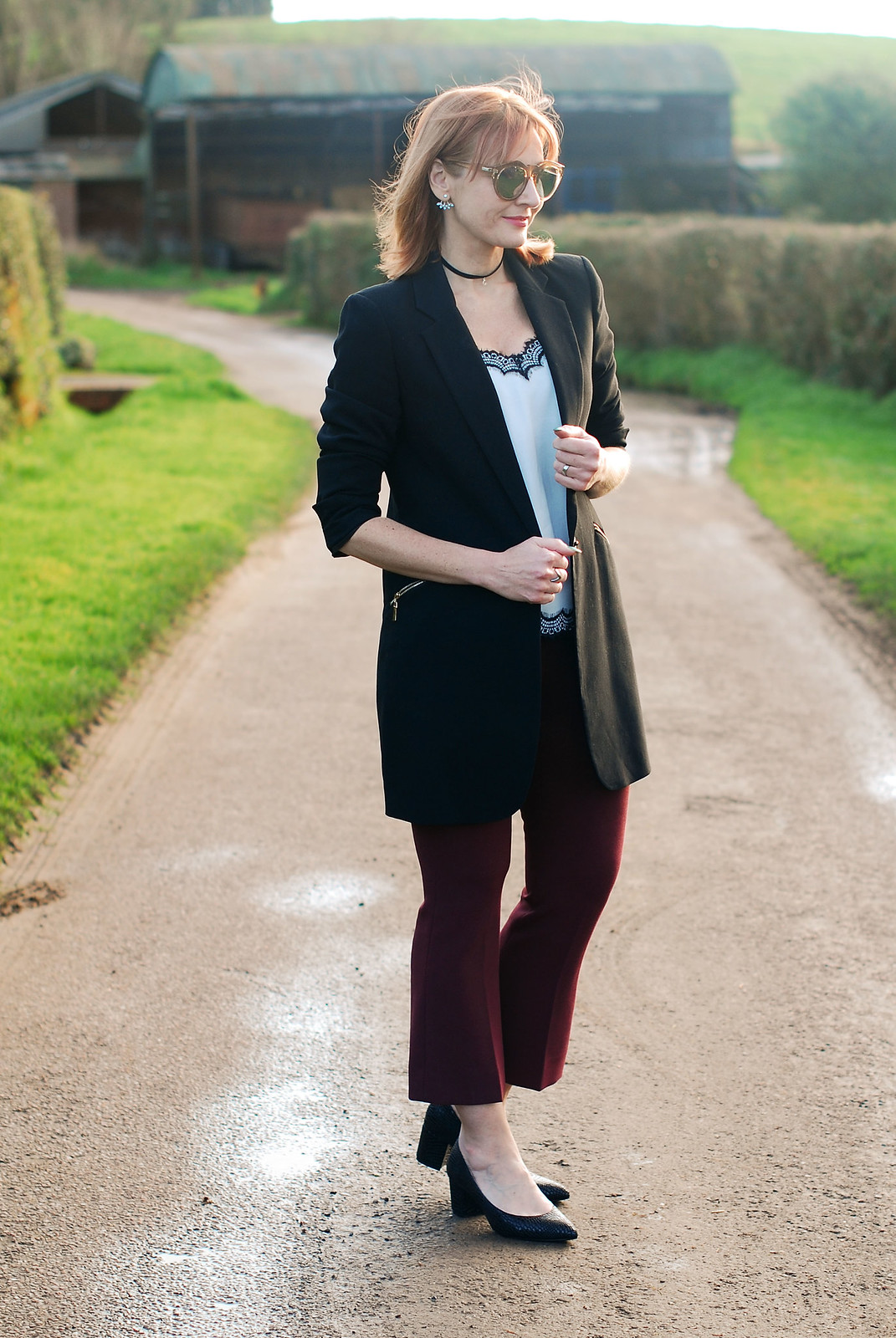 Smart chic look with a blazer and camisole  black blazer  black and white camisole top  burgundy kick flare trousers  black block heels | Not Dressed As Lamb, over 40 style