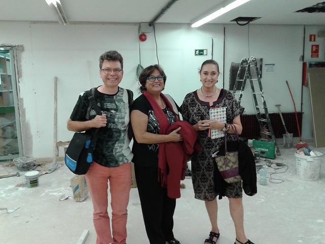 Obras en Biblioteca de Económicas, Magán, Marta Torres y María Luisa Gª-Ochoa, junta 2015