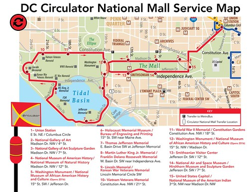National Mall Service, DC Circulator Route Map