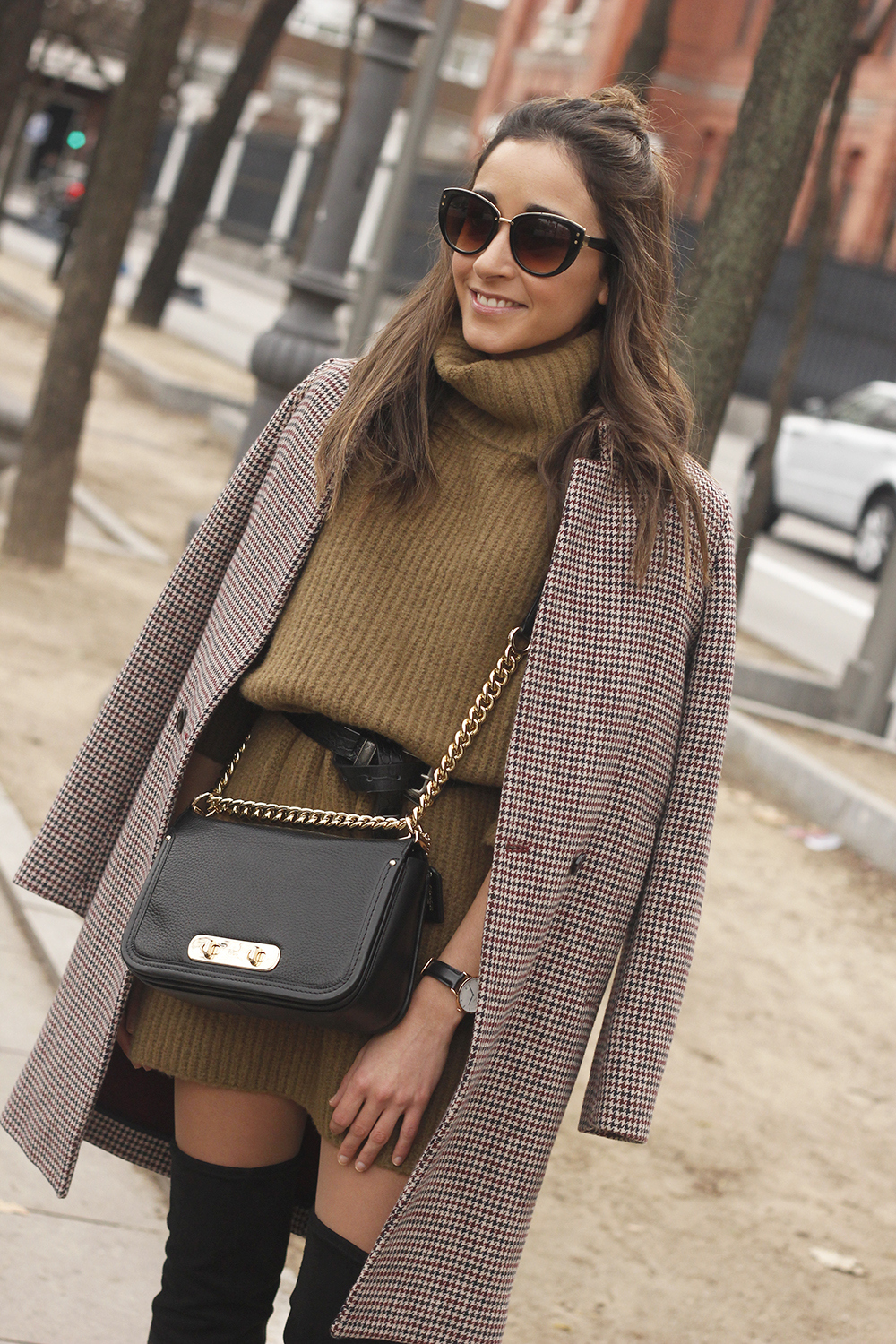 Turtleneck Dress over the knee boots coat sunnies coach bag style fashion outfit14
