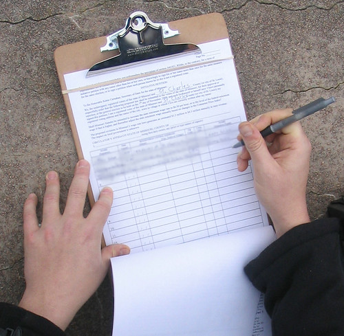 Signing a Petition | Signatures were gathered for ballot ...