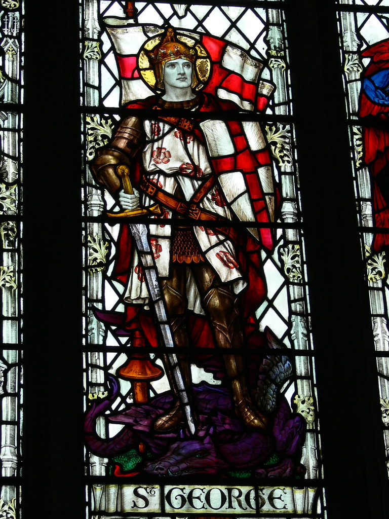 St George in stained glass | On the south front of the ...