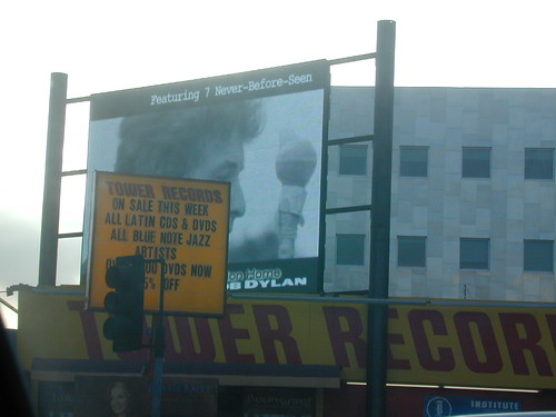 Tower Records plus Dylan, from a car in motion | by melmcwey