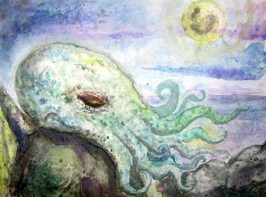Cthulhu one of my first watercolor paintings for My first watercolor painting