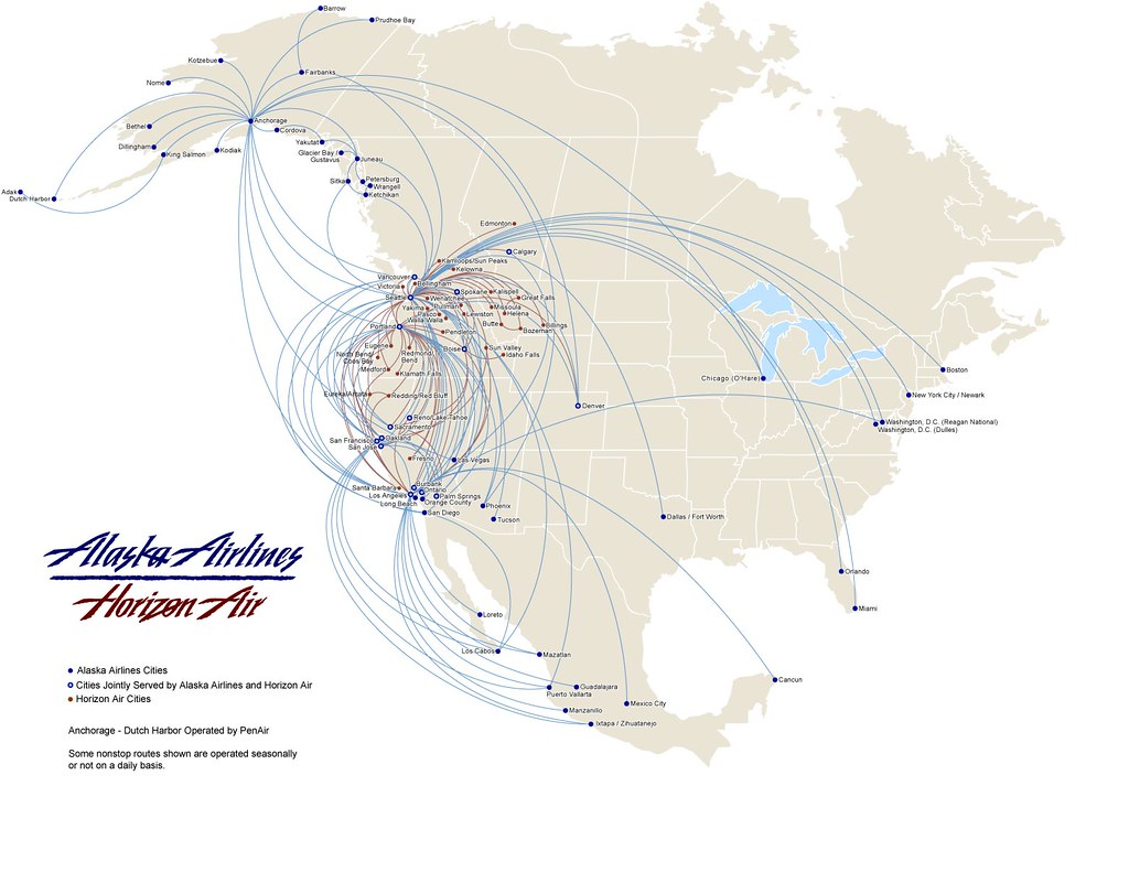 Alaska Air route map | another flyway from Alaska to Lower 4… | Flickr