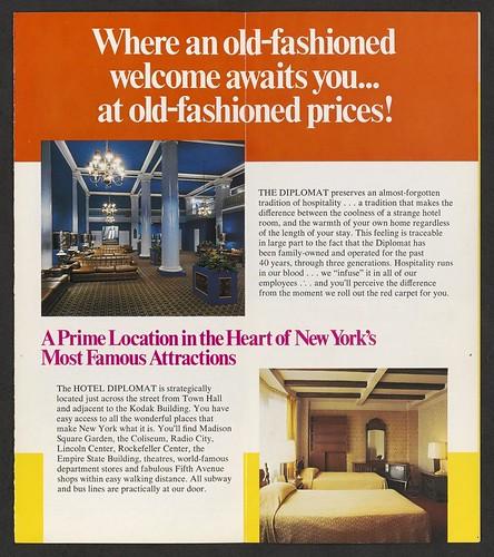 Circa 1970's Hotel Diplomat, NYC, NY (Brochure 002)