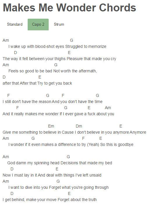 Capo 2 Makes Me Wonder Chords Maroon 5 Chordsmaroon 5